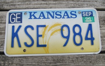Kansas Wheat License Plate 1996