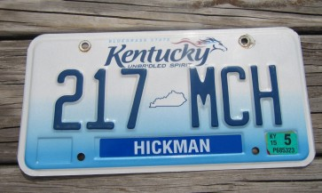Kentucky Unbridled Spirit License Plate 2015 Hickman County