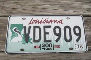 Louisiana Green Large Pelican 200 Years License Plate 2016 Bicentennial 1812-2012
