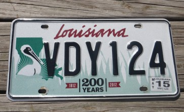 Louisiana Green Large Pelican 200 Years License Plate 2015 Bicentennial 1812-2012