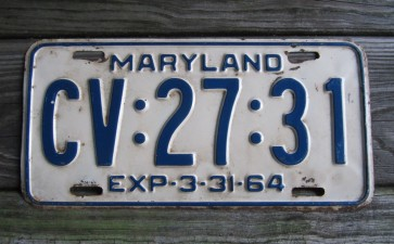Maryland Blue White License Plate 1964