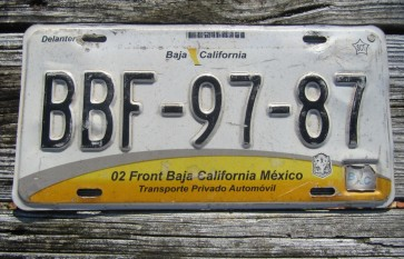 Mexico Baja California License Plate 1999