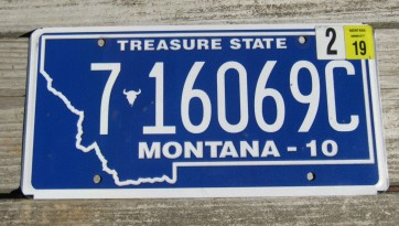 Montana Blue Treasure State License Plate 2019
