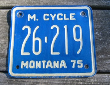 Montana Motorcycle License Plate Blue White 1975
