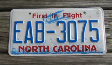 North Carolina License Plate First In Flight
