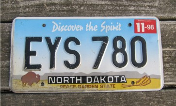 North Dakota Buffalo Discover The Spirit License Plate 1998
