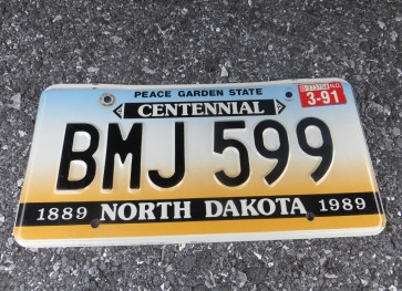 North Dakota Centennial License Plate 1991 Peace Garden State