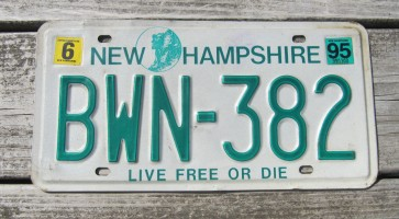New Hampshire Old Man of The Mountain Live Free or Die License Plate 1995