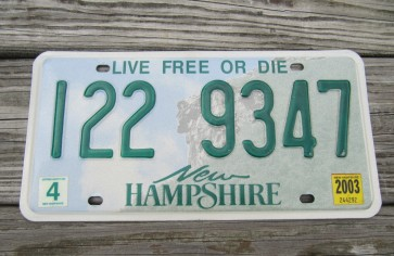 New Hampshire Old Man Of The Mountain License Plate 2003