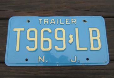 New Jersey Garden State Blue Trailer License Plate 1980's