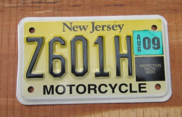 New Jersey Motorcycle License Plate Yellow Fade 2009