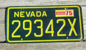 Nevada Yellow Green License Plate 1975