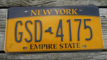 New York Blue Gold License Plate The Empire State