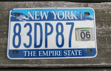 New York Empire State Motorcycle License Plate 2006