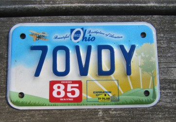 Ohio Motorcycle License Plate Birthplace of Aviation Sunset