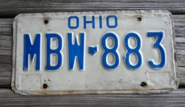 Ohio Blue White  License Plate 1990's
