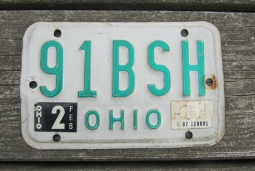 Ohio Motorcycle License Plate 1987