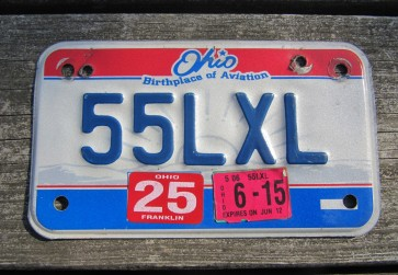 Ohio Motorcycle License Plate Birthplace of Aviation 2015