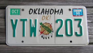 Oklahoma Native America License Plate 1998