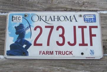 Oklahoma Arrow Shooter Farm Truck License Plate 2014