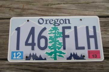 Oregon Tree and Mountains License Plate 2013