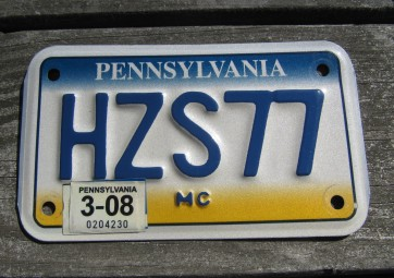 Pennsylvania Motorcycle License Plate State Base PA 2008
