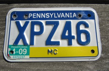Pennsylvania Motorcycle Visit PA Style License Plate 2009