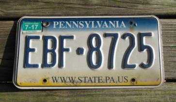 Pennsylvania Tri Color License Plate 2017