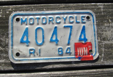 Rhode Island Motorcycle License Plate 1984 White Blue