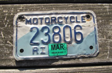 Rhode Island Motorcycle License Plate Ocean Wave 2014
