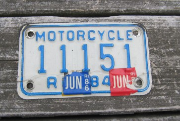 Rhode Island Motorcycle License Plate 1984 White Blue 1980's