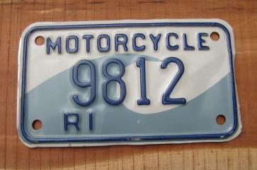 Rhode Island Motorcycle License Plate Ocean Wave 1990's