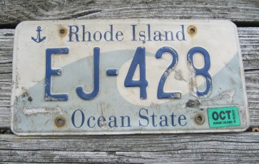 Rhode Island Motorcycle License Plate 1996 White Blue