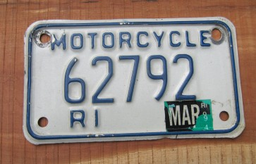 Rhode Island Motorcycle License Plate 1994 White Blue