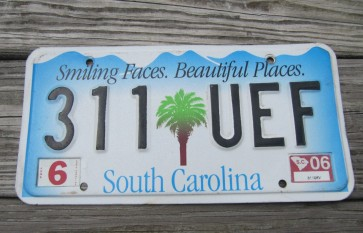 South Carolina Smiling Faces Beautiful Places License Plate 2006