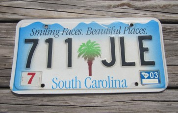 South Carolina Smiling Faces Beautiful Places License Plate 2003