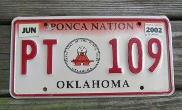 Oklahoma Ponca Indian Tribe License Plate 2002 Tribal