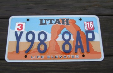 Utah Arch Life Elevated License Plate 2016