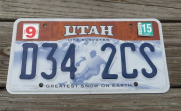 Utah Life Elevated Skier License Plate 2015 Greatest Snow on Earth