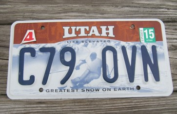 Utah Life Elevated Skier License Plate 2015 Greatest Snow on Earth