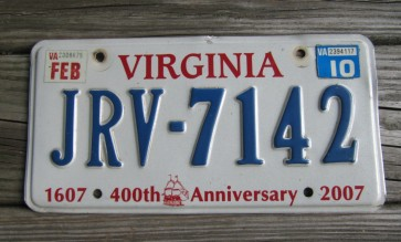 Virginia Jamestown 400th Anniversary License Plate 2010