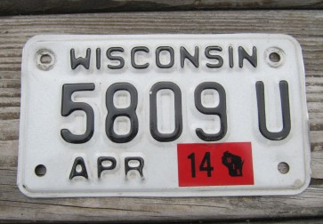 Wisconsin Motorcycle License Plate 2014