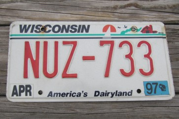 Wisconsin America's Dairyland License Plate 1997