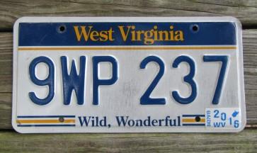 West Virginia Wild Wonderful License Plate 2016