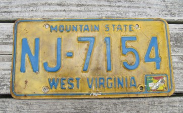West Virginia Mountain State License Plate 1970's
