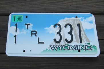 Wyoming Devils Tower Trailer License Plate 2003