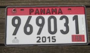 Panama Red White License Plate 2015