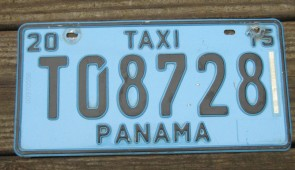 Panama Blue Taxi License Plate 2015