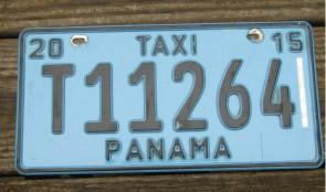 Panama Blue Taxi License Plate 2015