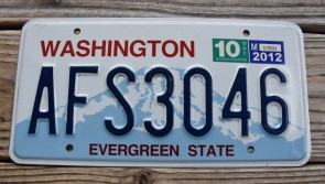Washington Mt Rainier License Plate 2012